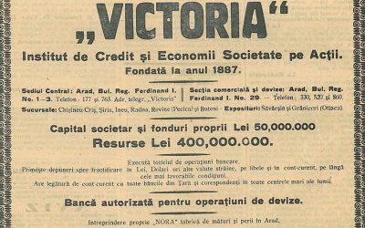 """IMPLICAREA INSTITUTULUI DE CREDIT ȘI ECONOMII """"VICTORIA"""" DIN ARAD ÎN PROBLEMELE SOCIETĂȚII ROMÂNEȘTI (1900-1914)"""